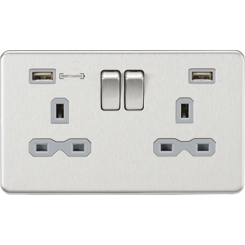 Knightsbridge 13A 2G DP Switched Socket with Dual USB Charger (Type-A FASTCHARGE port) - Brushed Chrome/Grey