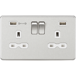 Knightsbridge 13A 2G DP Switched Socket with Dual USB Charger (Type-A FASTCHARGE port) - Brushed Chrome/White