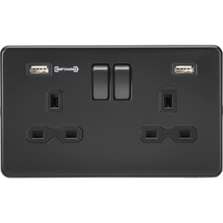 Knightsbridge 13A 2G DP Switched Socket with Dual USB Charger (Type-A FASTCHARGE port) - Matt Black