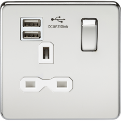 Knightsbridge Screwless 13A 1G switched socket with dual USB charger (2.1A) - Brushed Chrome with white insert