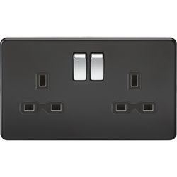 Screwless Matt Black Sockets