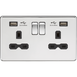 Knightsbridge Switched Socket 13A 2G with Dual USB Charger (2.4A) - Polished Chrome with black inserts