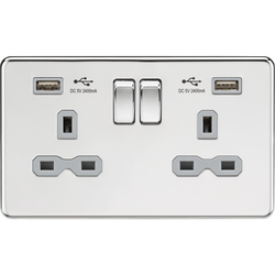 Knightsbridge Switched Socket 13A 2G with Dual USB Charger (2.4A) - Polished Chrome with grey inserts