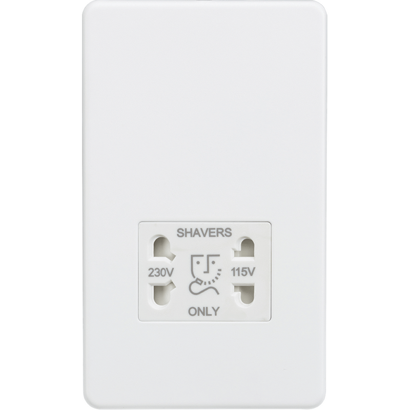 Screwless 115/230V Dual Voltage Shaver Socket - Matt White