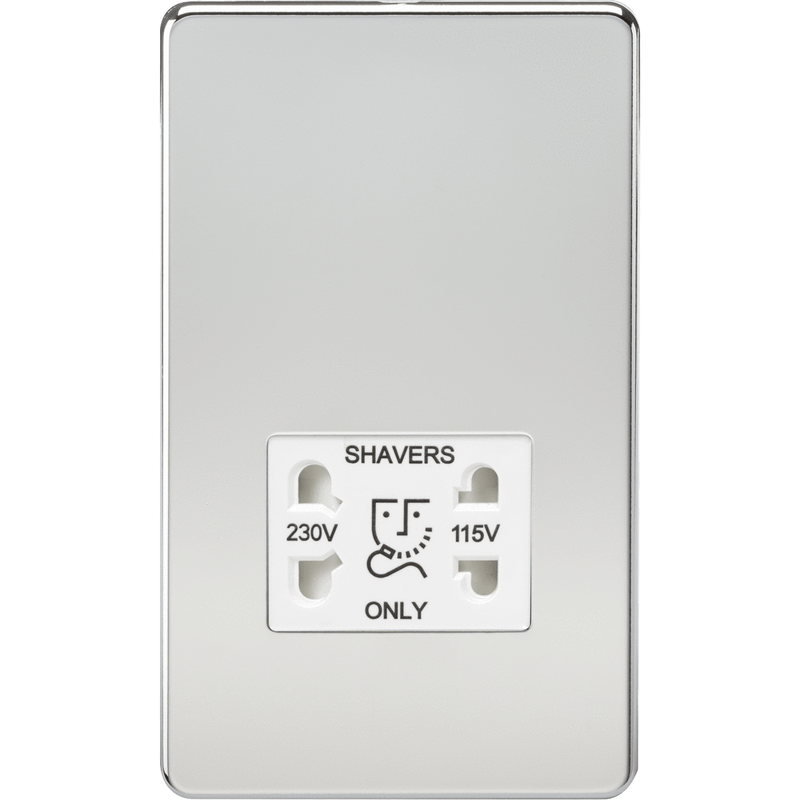 Screwless 115V/230V Dual Voltage Shaver Socket - Polished Chrome with White Insert