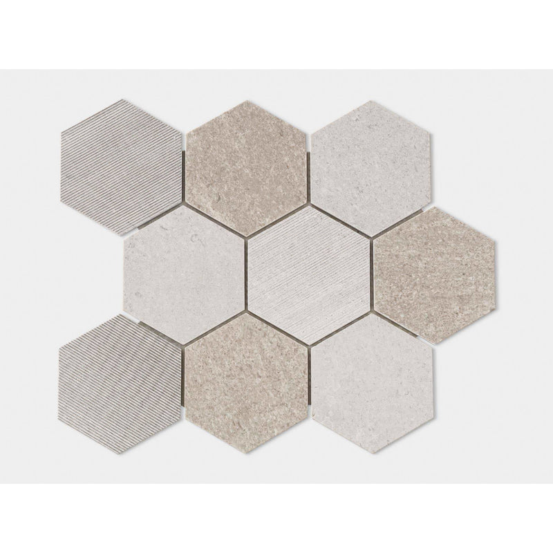 World Hexagon Text Grey