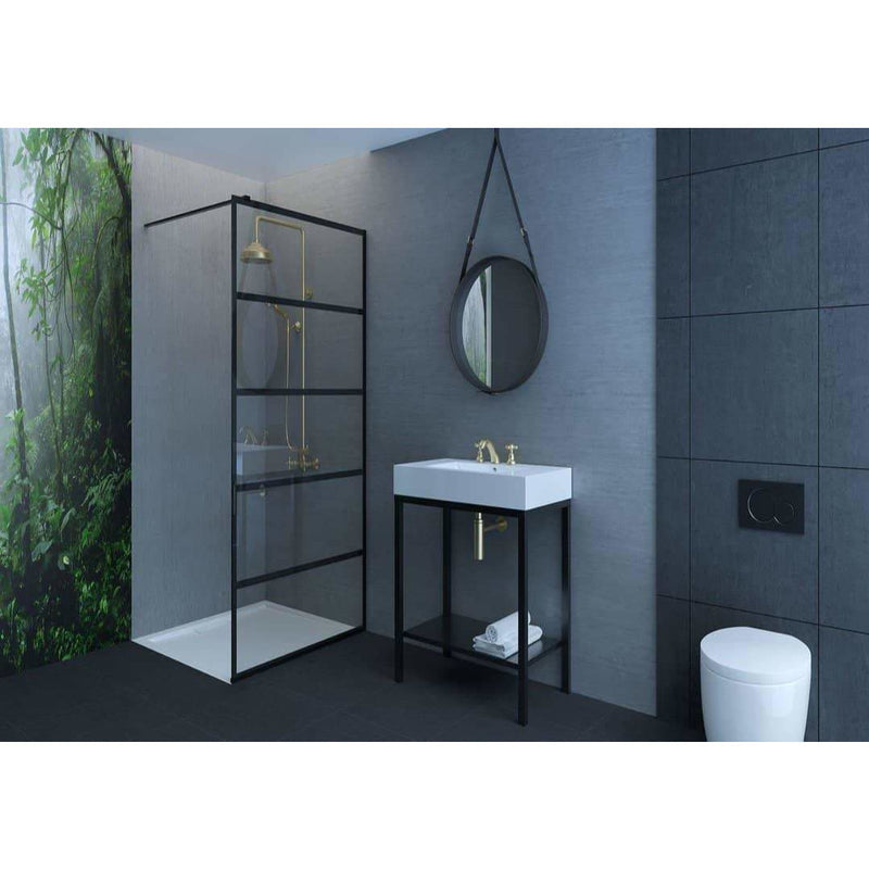 1200mm black shower screen