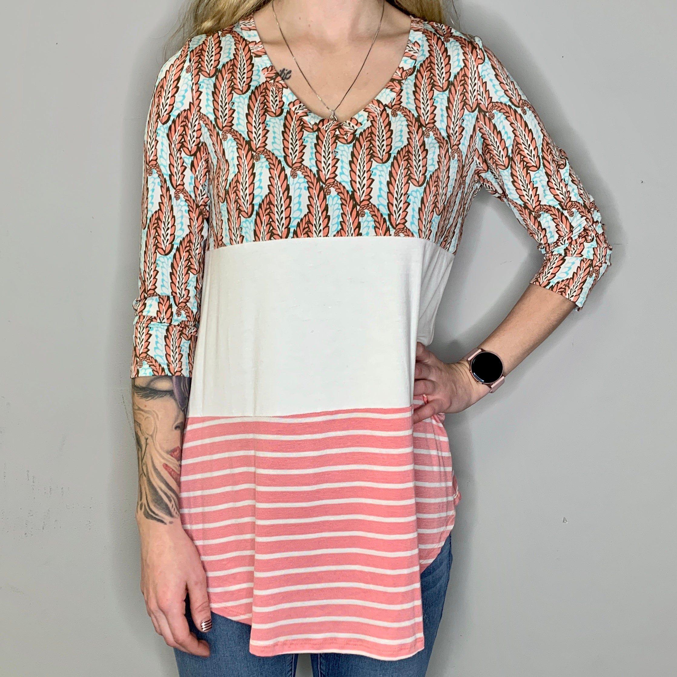 Coral & Turquoise Mixed Pattern 3/4 Sleeve Top