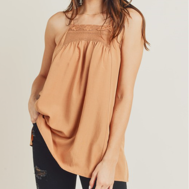 Clay Pleated High Neck Tank with Netted Lace Knit Detail