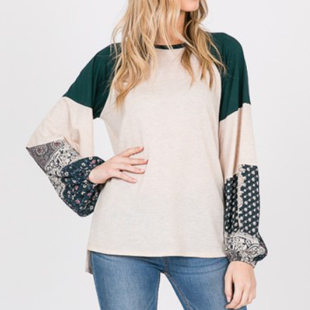 Cream with Green Balloon Sleeve Color Block Print Top
