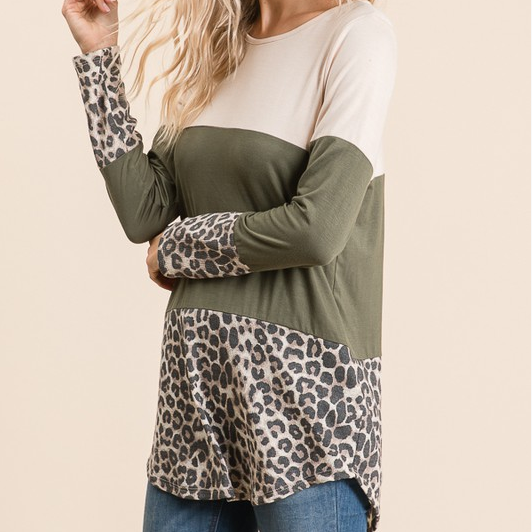 Cheetah Print Color Block Long Sleeve Top with Back Button Detail.
