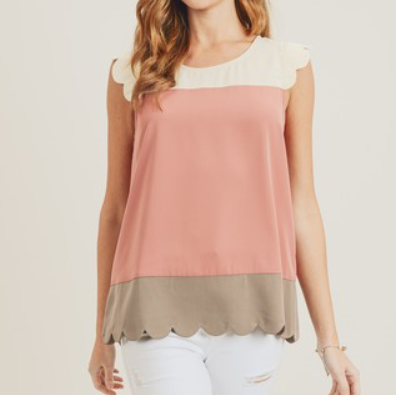 Beige, Pink & Taupe Scallop Hem Color Block Sleeveless Blouse