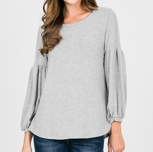 Grey Brushed Knit 3/4 Balloon Sleeve Top