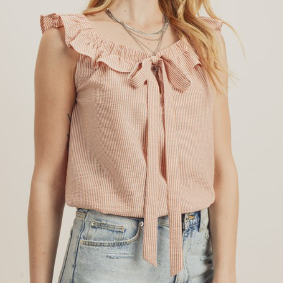 Ruffled Shoulder Pin Stripe Top with Front Tie Detail