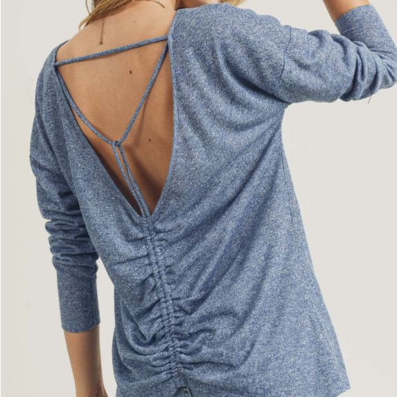 Blue Open Cinched Back Detail Long Sleeve Top