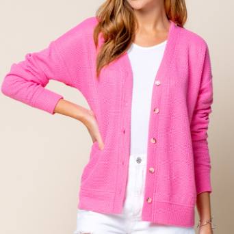 Thermal Knit Button Down Cardigan