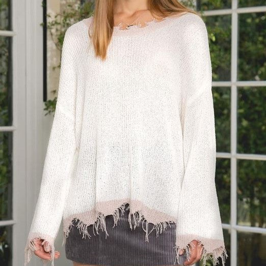 Oversized Deconstructed Ivory & Mauve Lightweight Sweater