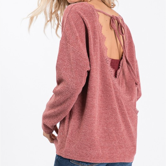 Open Back Lace Trim Pullover Sweater