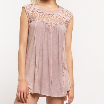 Upper Lace Contrast Sleeveless Top with Open Back