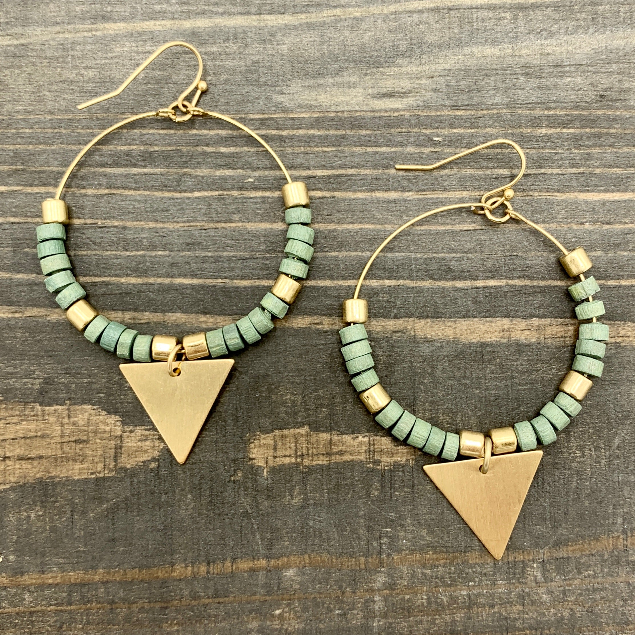 "Gold Tone 2"" Hoop with Mint Wood & Gold Triangle Earrings"