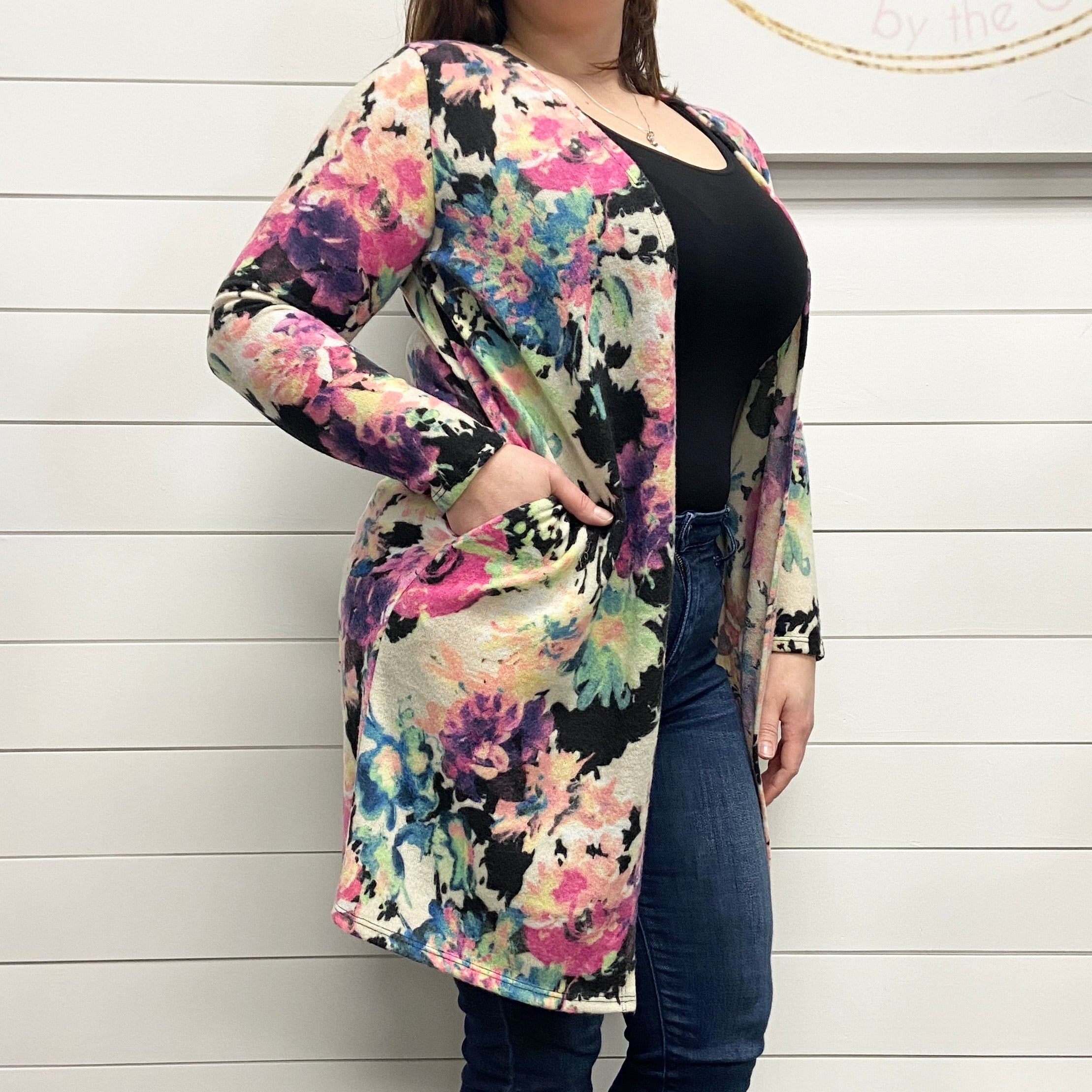 Vibrant Floral Open Front Cardigan