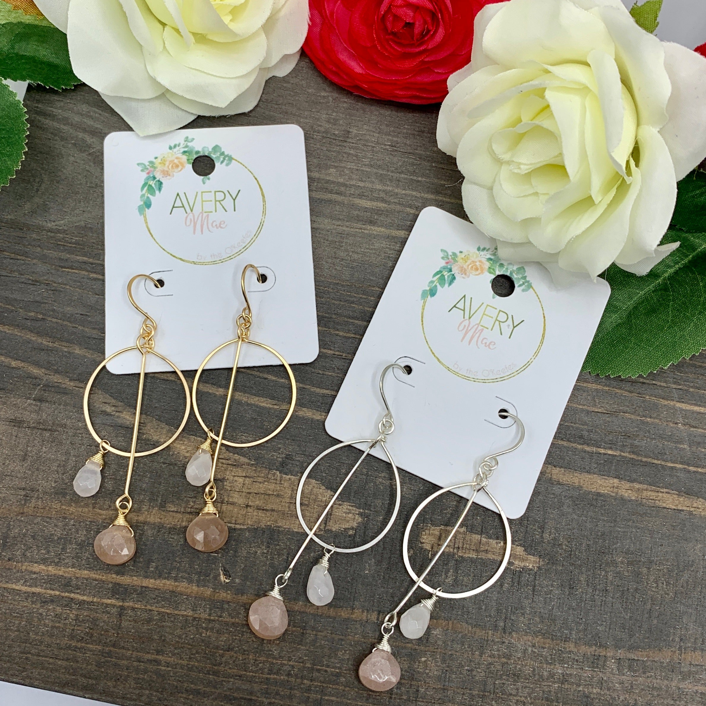 Handmade Natural Stone Gold Filled or Sterling Dangle Earrings - AM Exclusive