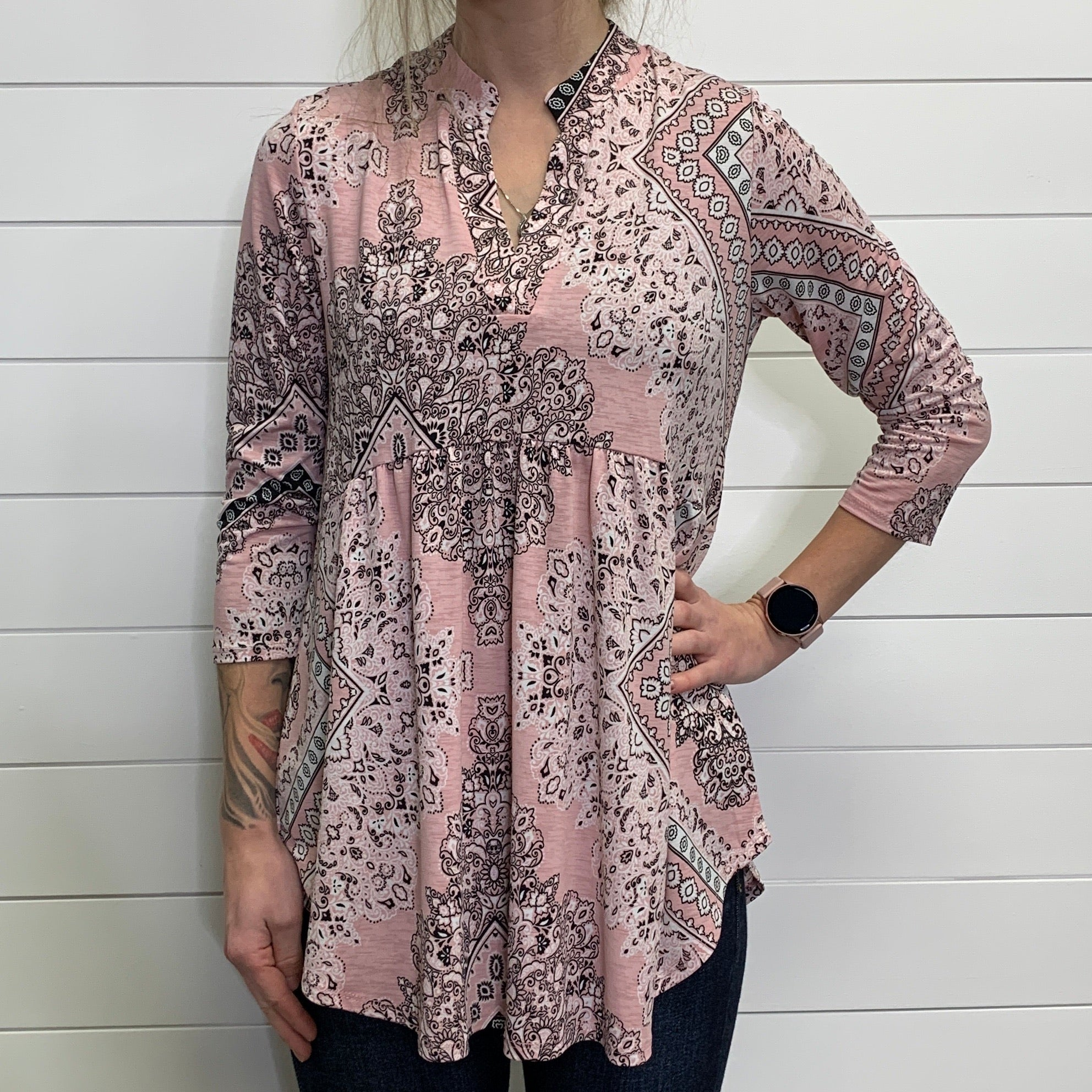 Pink Paisley 3/4 Sleeve V Neck Babydoll Top