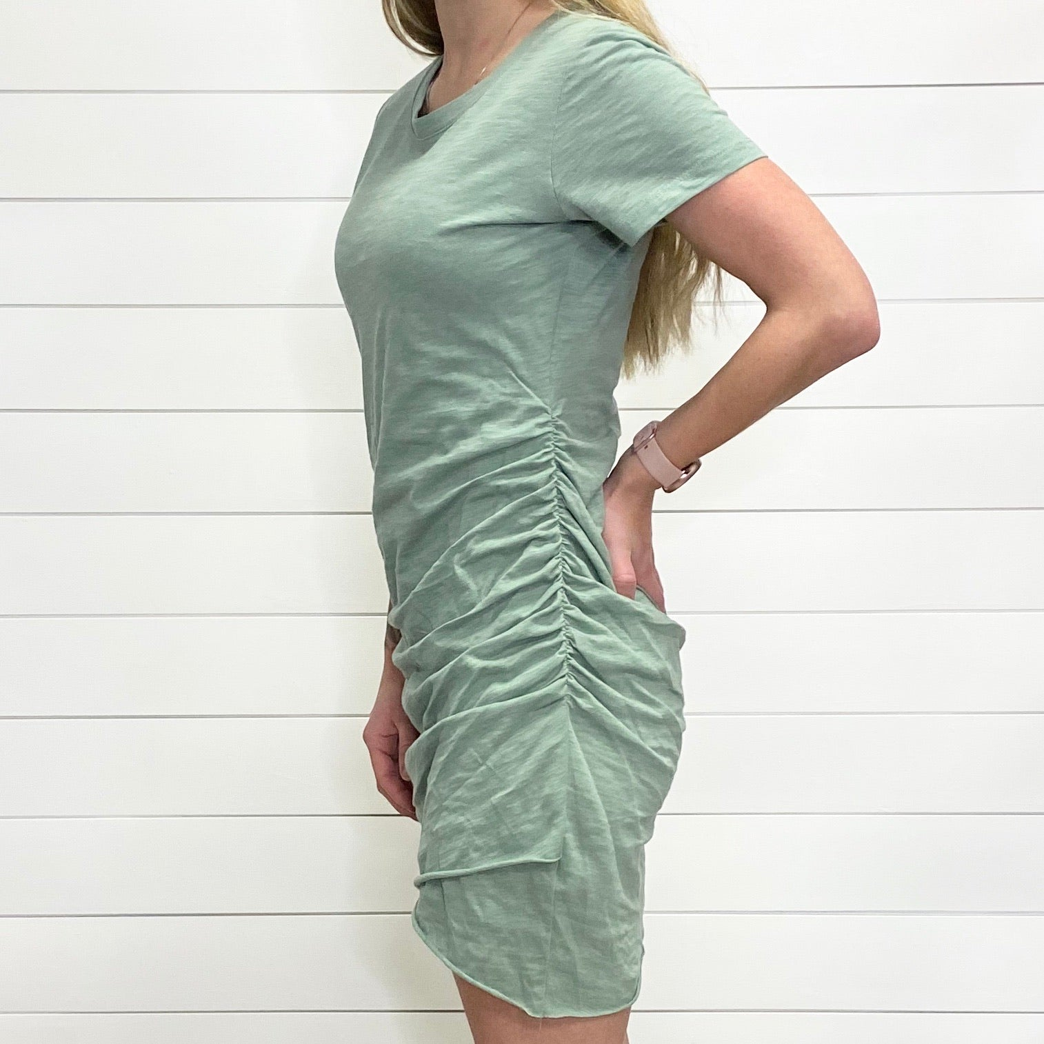 Sage Crew Neck Ruched Side T-Shirt Dress
