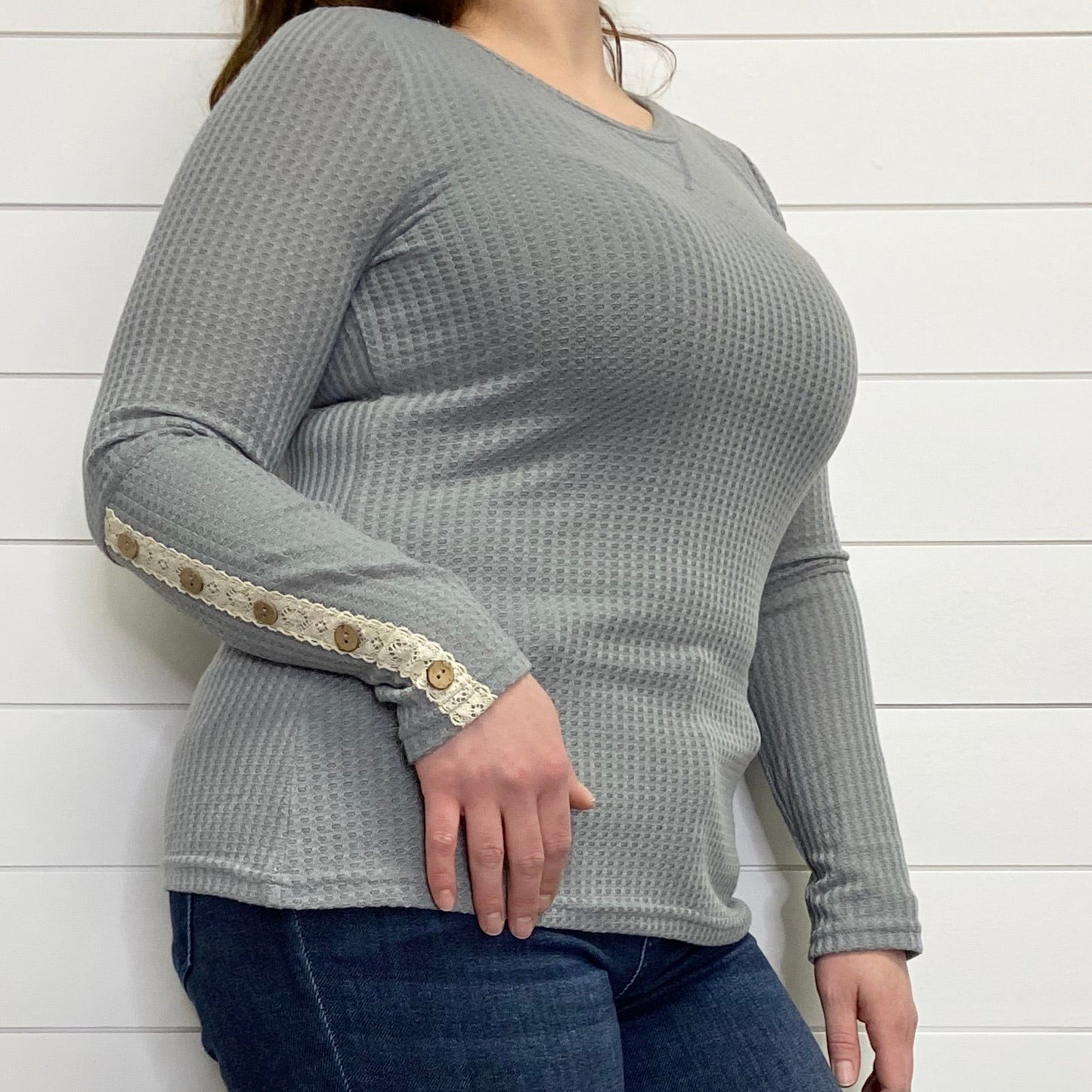 Grey Thermal Knit Long Sleeve with Lace & Button Detail