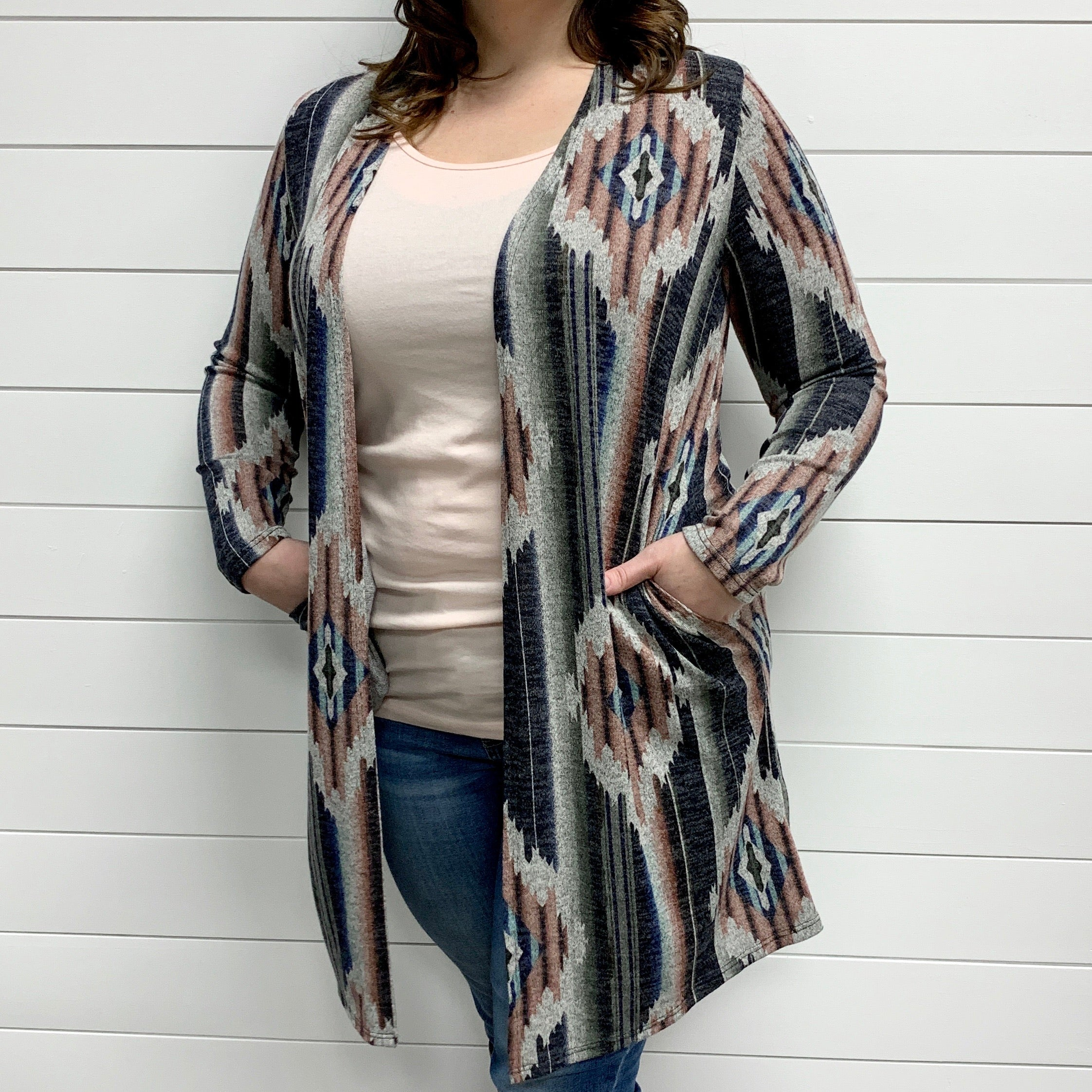 (FINAL SALE) Pink & Navy Southwest Open Front Cardigan with Pockets