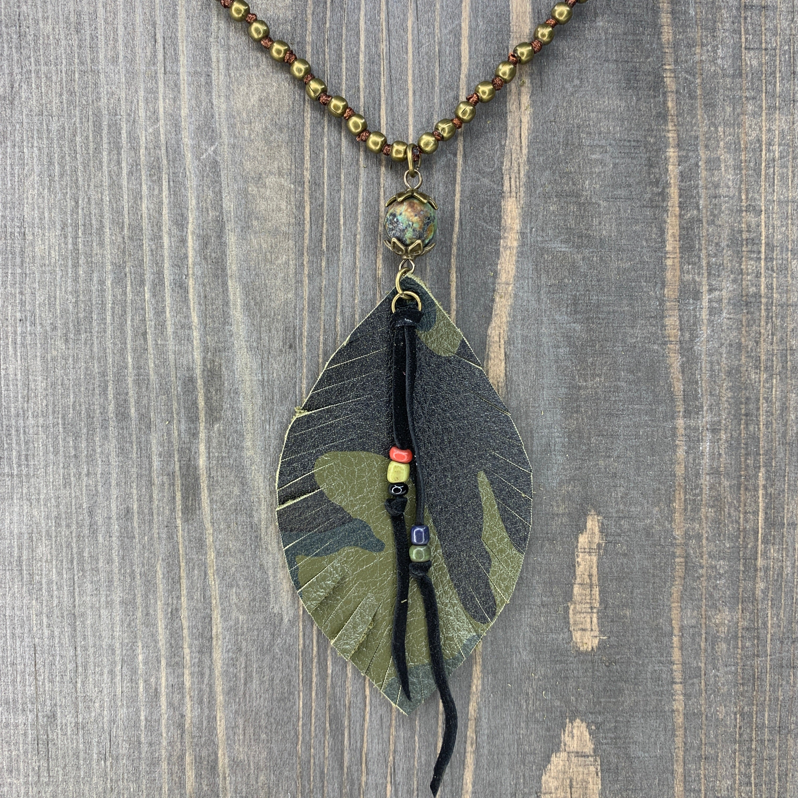 (Final Sale) Handmade Green Leather Camo Long Beaded Necklace
