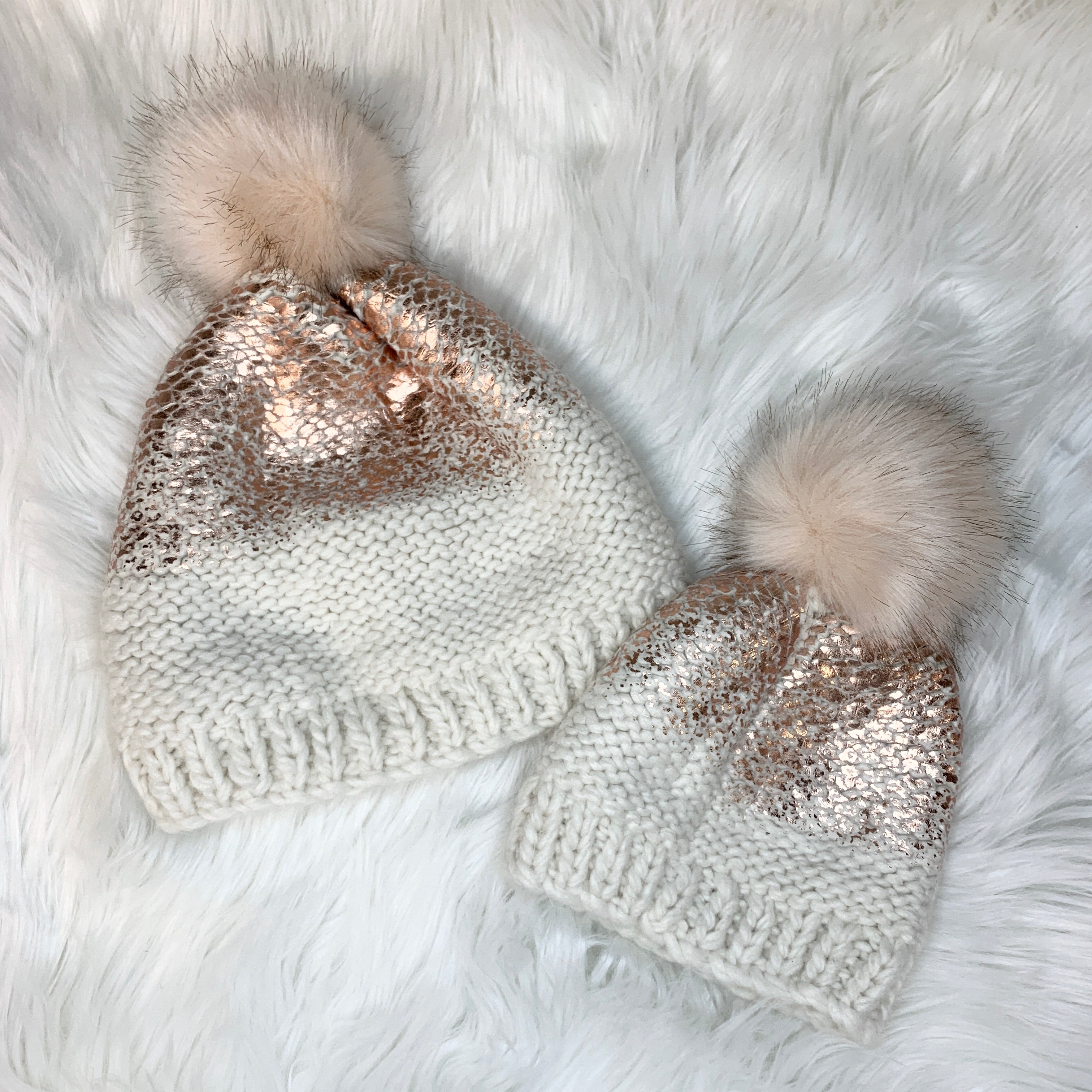 Mommy & Me Hat - Pearl Cream & Metallic Rose Gold with Faux Fur Pom Pom  *Not sold as a set