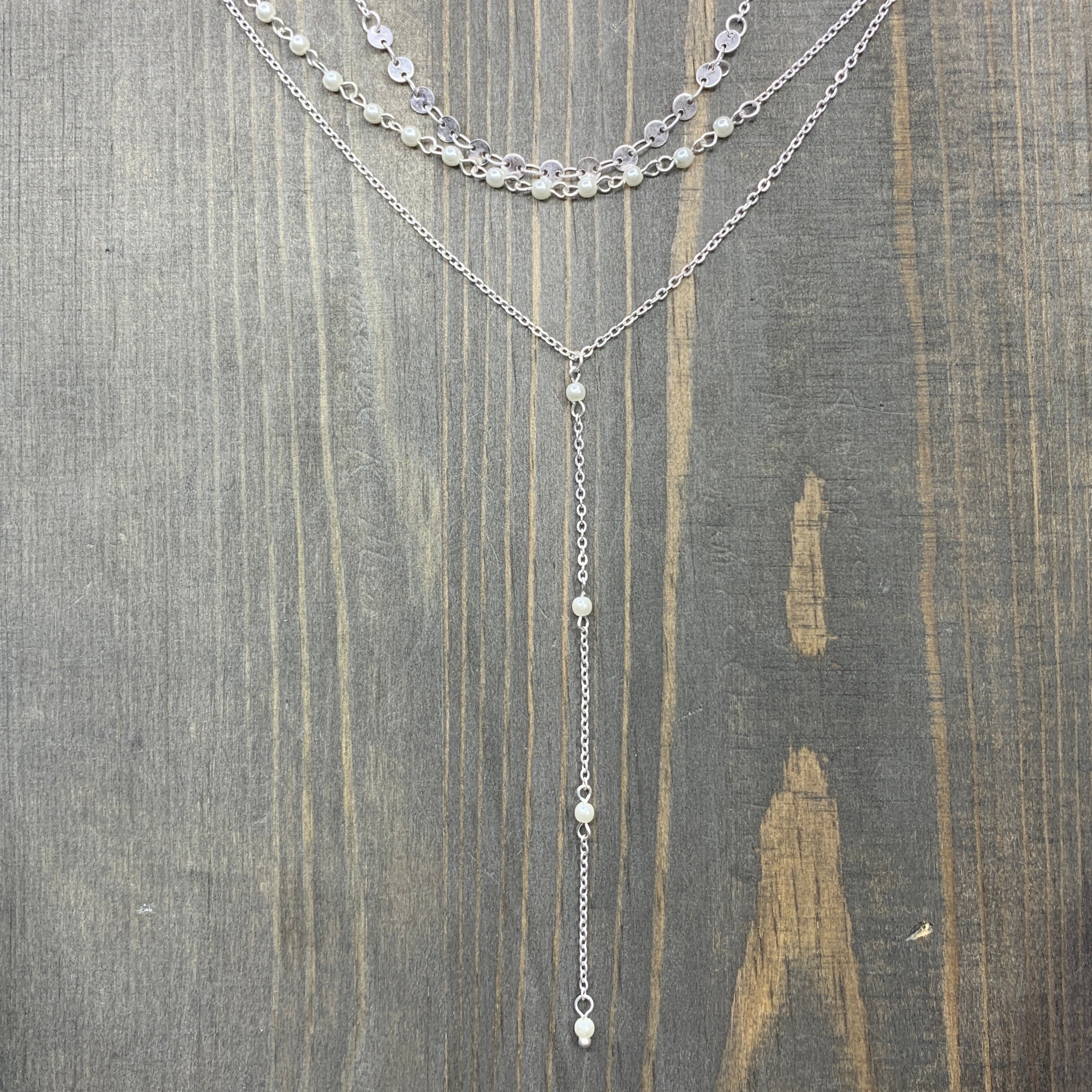 "Silver Triple Layer 15""-17"" Y Drop with Pearl Accent Necklace"
