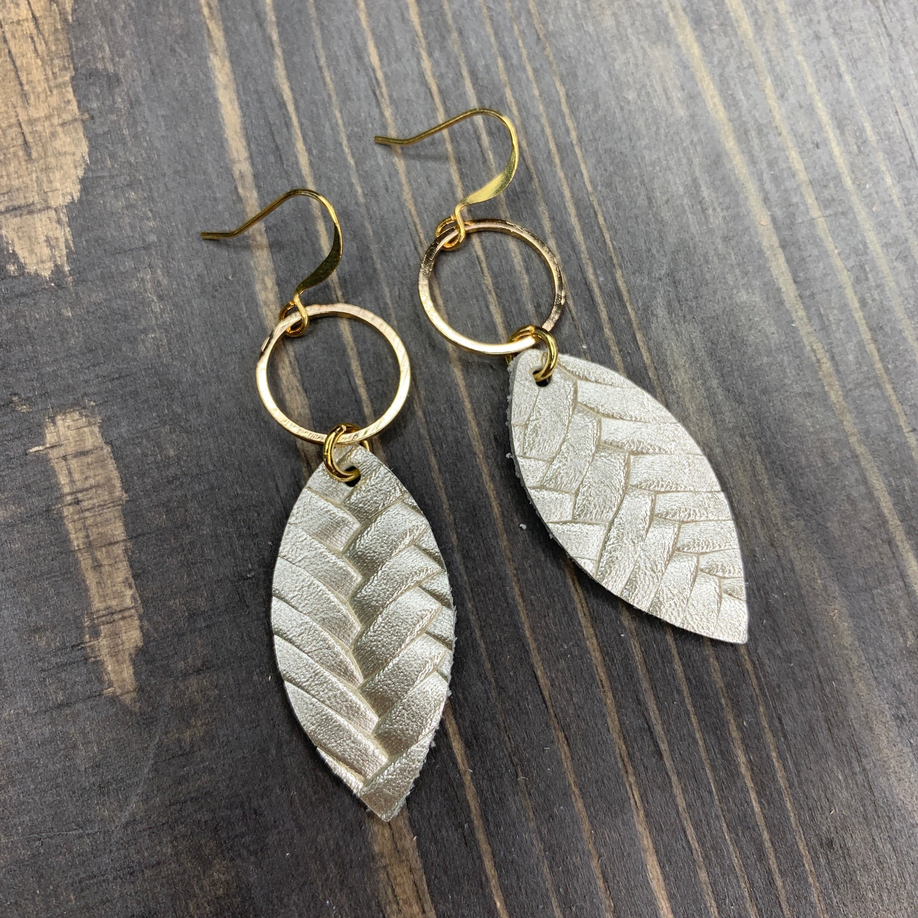 Handmade Champagne Small Braided Feather Leather Earrings