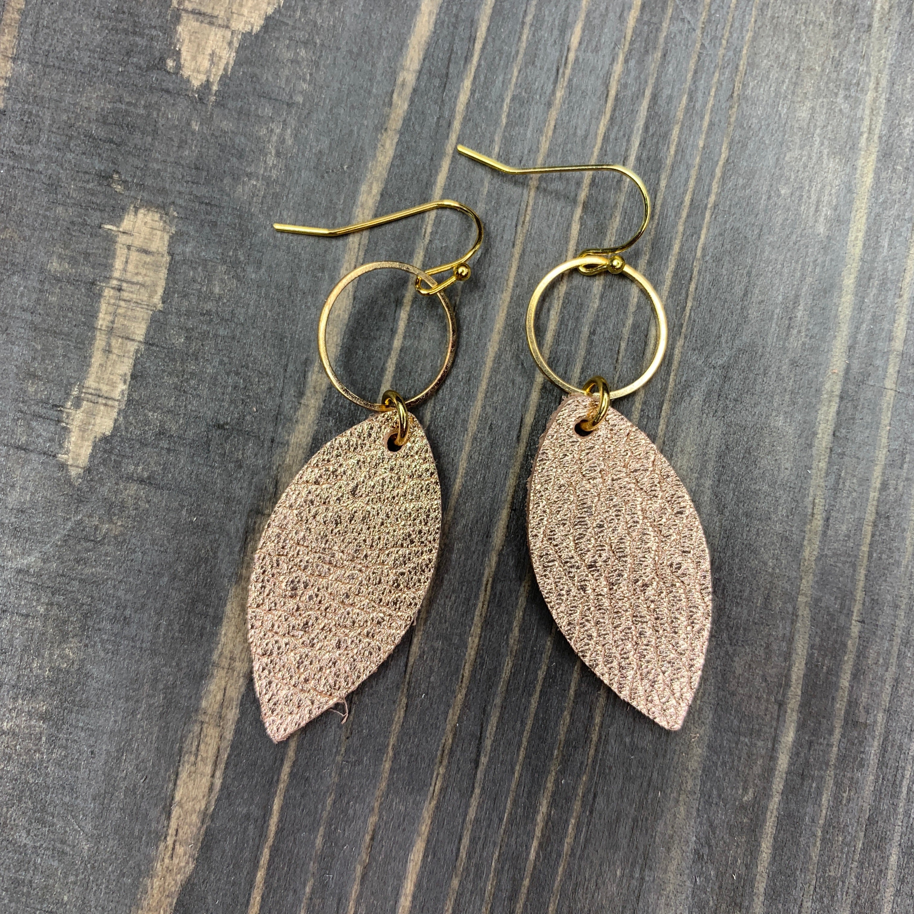 Handmade Rose Gold Small Feather Leather Earrings