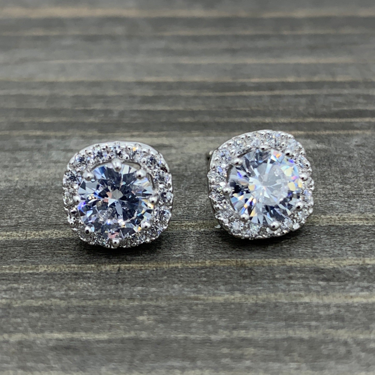 Sparkling Halo Sterling Silver Stud Earrings