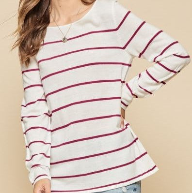 Pink & White Striped Long Sleeve Top with Tie Back Detail