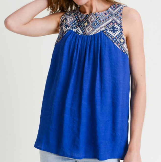 Royal Blue Woven Accent Tank Top with Open Lace Up Back