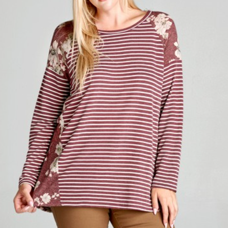 Burgundy Striped Long Sleeve Terry Knit Top with Floral Contrast
