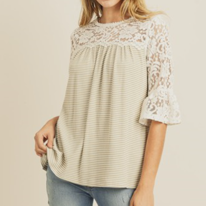 Taupe Upper Lace Contrast 3/4 Length Striped Top