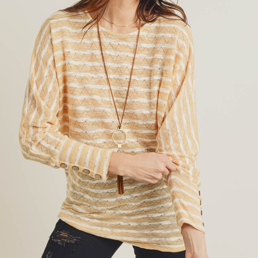 Striped Dolman Sleeve Pointelle Top with Button Cuff Detail