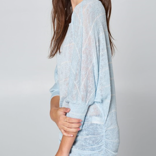 Light Blue & Cream Striped Dolman Sleeve Side Cinched Top