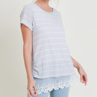 Striped Side Roused Top with Bottom Lace Contrast