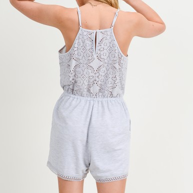 Grey Lace Back Cinched Waist Romper