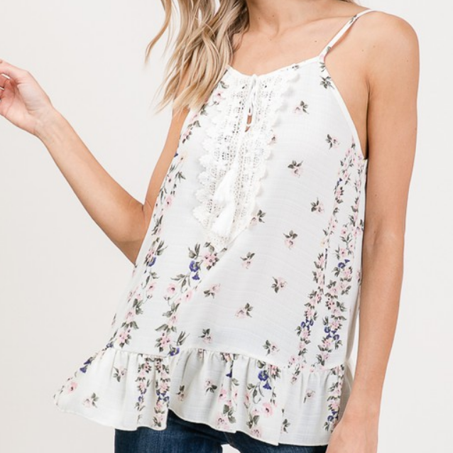 Ruffled Bottom Floral Tank Top with Lace Detail