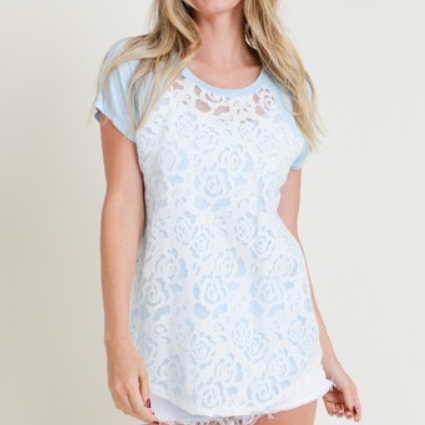 Blue Lace Accent Short Sleeve Tee