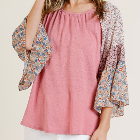 Rose Mixed Print Sleeve Round Neck top
