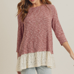Ribbed Lace Bottom Hem with Tie Back 3/4 Sleeve Top