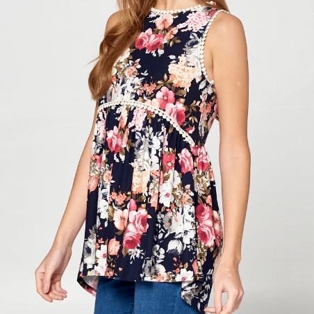 Navy Floral Sleeveless top with Crochet Trim