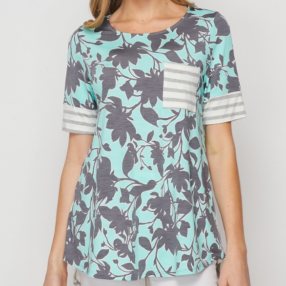 Sea Foam & Navy Floral with Grey Striped Accent Pocket Tee